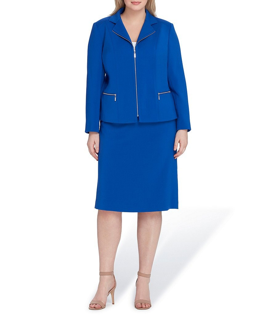 Tahari ASL Plus Size Zip Front Notch Collar Jacket 2-Piece Skirt Suit