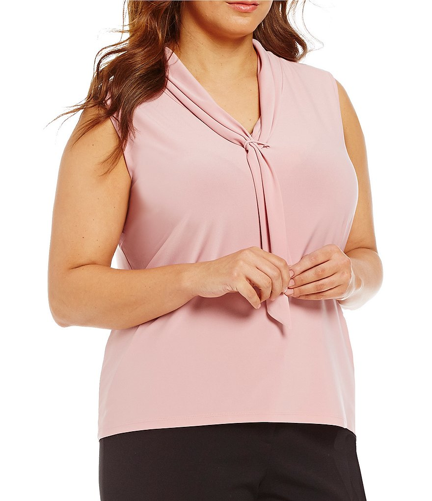 Tahari ASL Plus Sleeveless Tie-Neck Knit Top