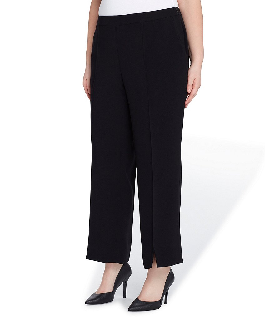 Tahari ASL Plus Slim Straight-Leg Slit Hem Crepe Pants