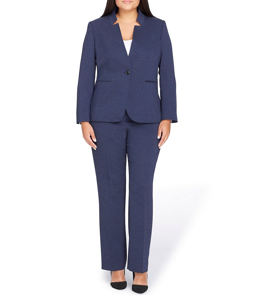 Tahari ASL Plus Star Neck Pant Suit