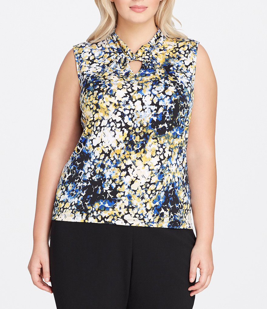 Tahari ASL Plus Twist Keyhole Printed Blouse