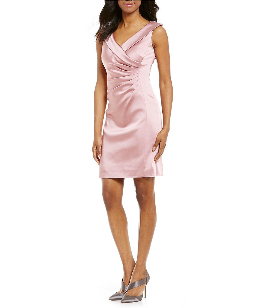 Tahari ASL Portrait Collar Satin Sheath Dress