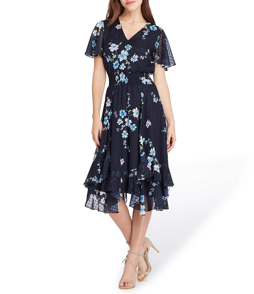 Tahari ASL Printed Swiss Dot Midi Dress