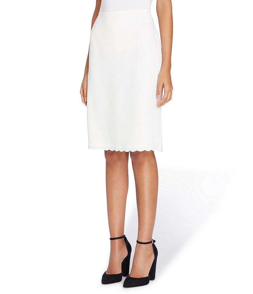 Tahari ASL Scalloped Hem Crepe Pencil Skirt