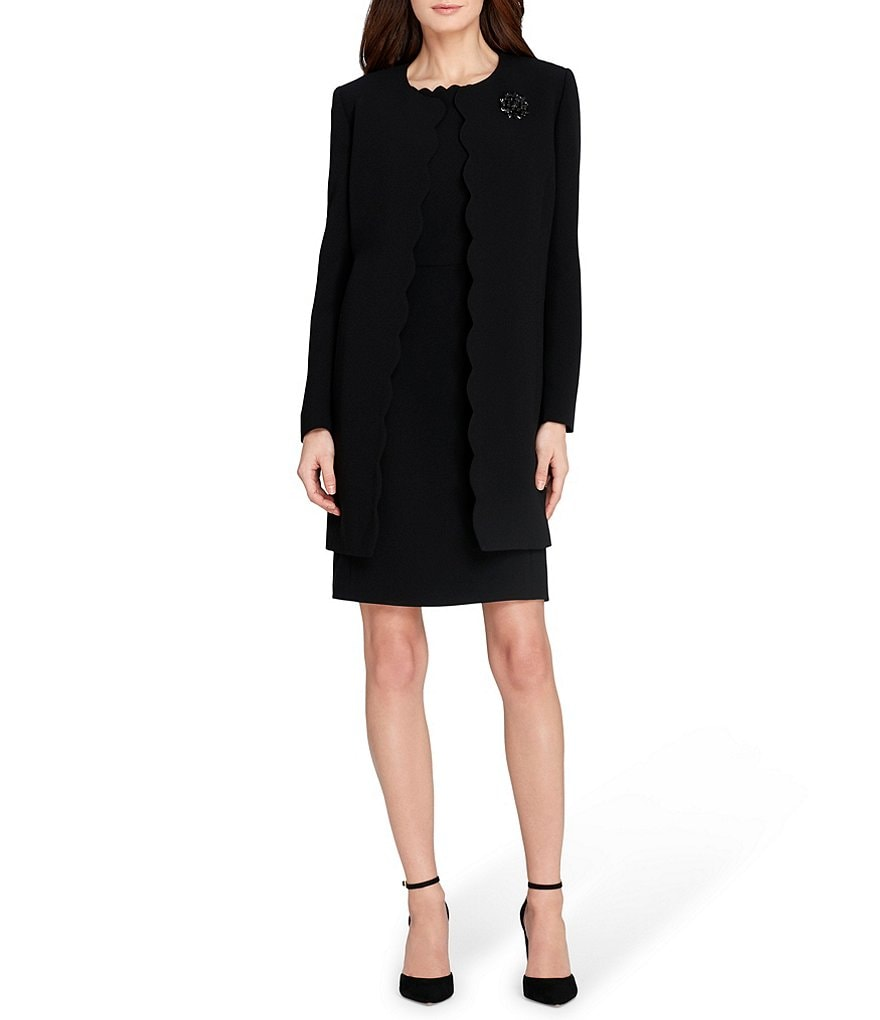 Tahari ASL Scalloped Trim Topper Jacket Dress Suit