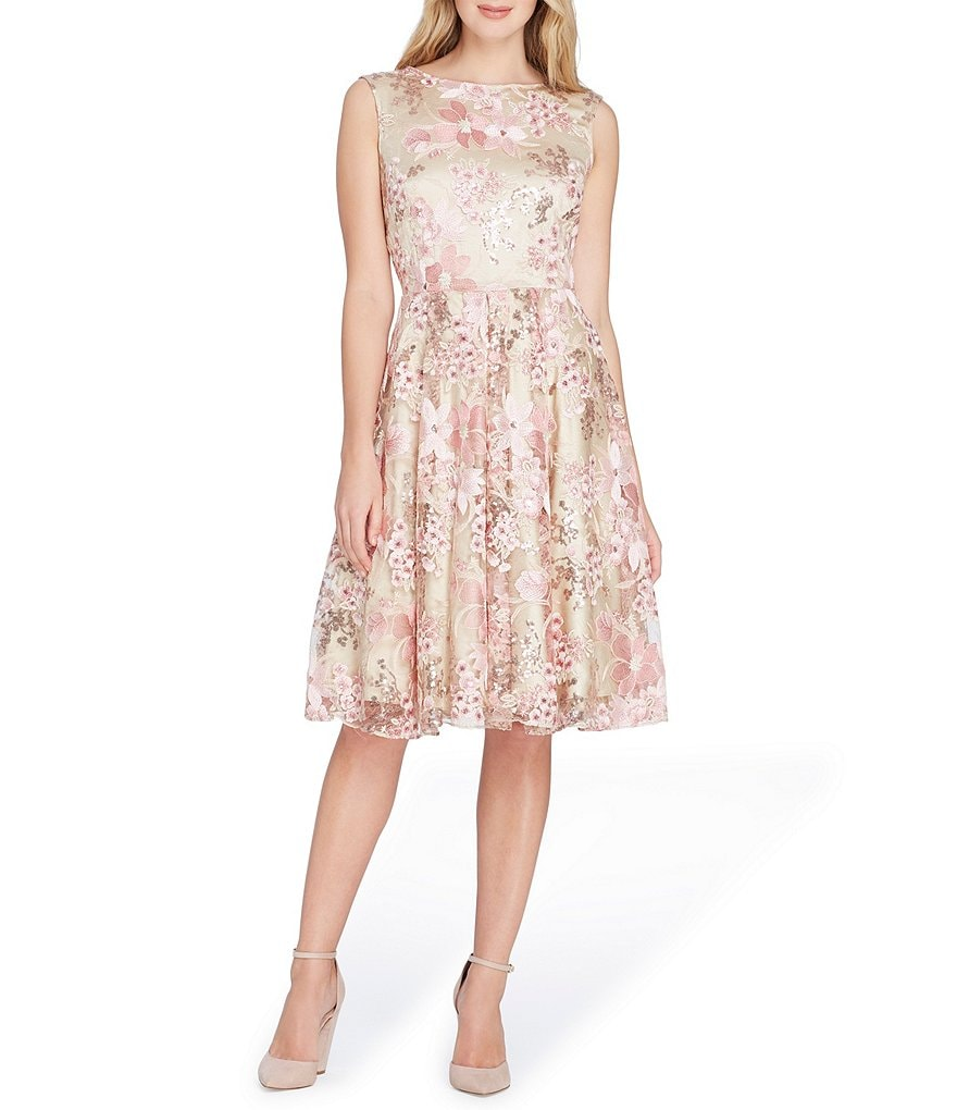 Tahari ASL Sequin Floral Embroidery Fit and Flare Dress