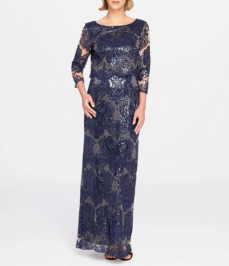 Tahari ASL Sequin Lace Sheath Gown