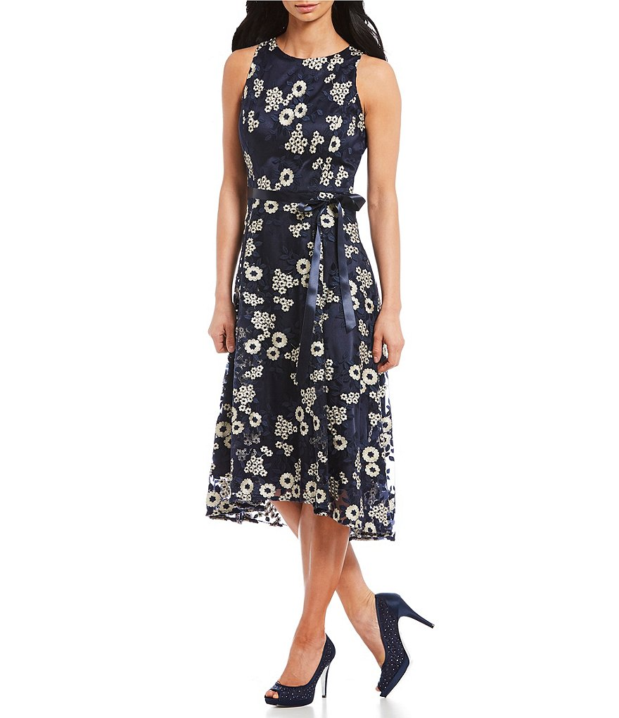 Tahari ASL Embroidered Fit & Flare Hi-Low Midi Dress