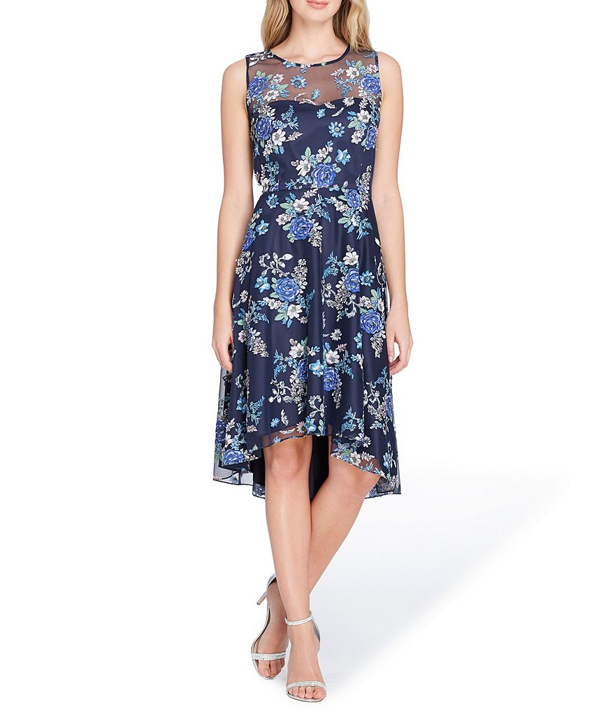 Tahari ASL Sleeveless Floral Burn Out Illusion Neckline Fit and Flare Dress