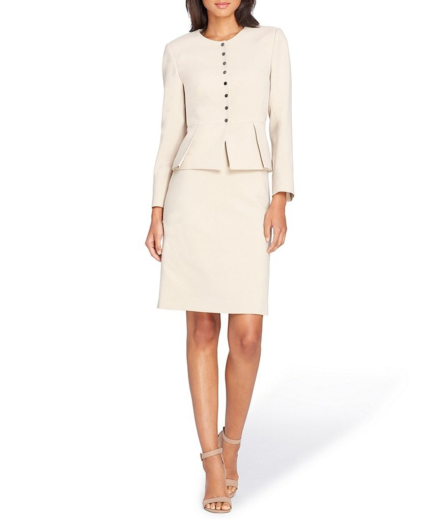 Tahari ASL Stretch Crepe Peplum Jacket Skirt Suit