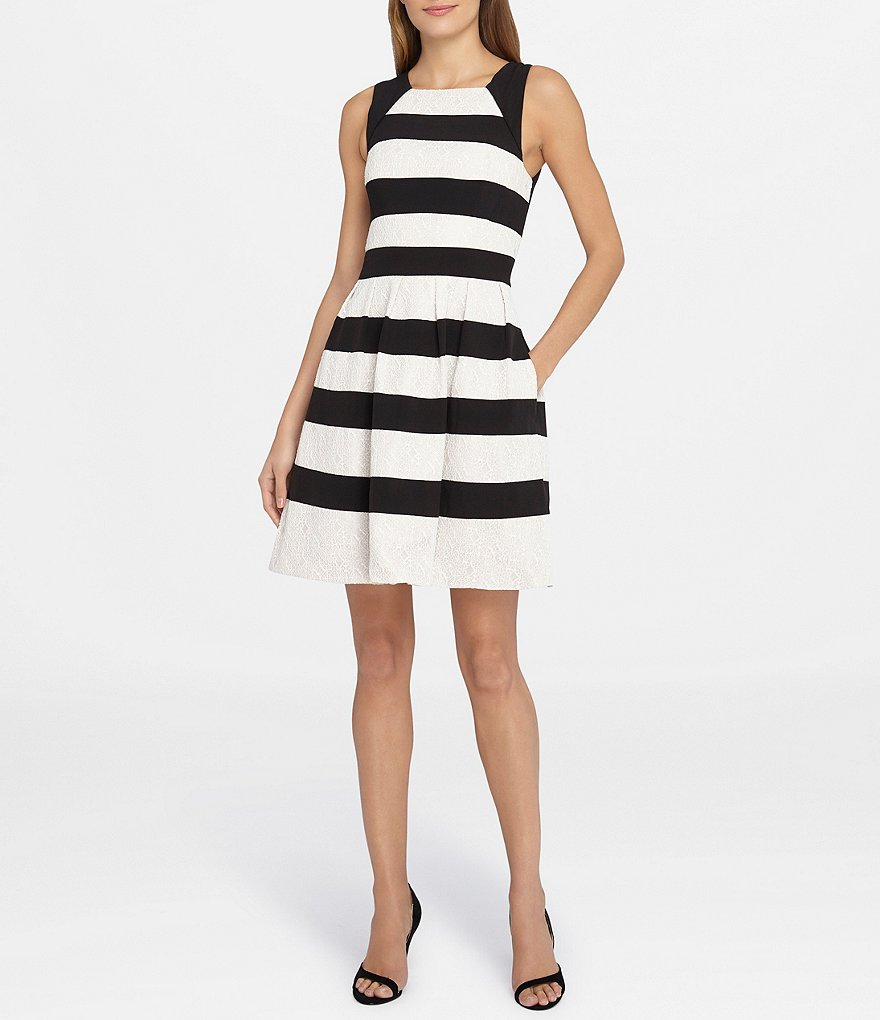 Tahari ASL Stripe Bonded Lace Fit-and-Flare Dress