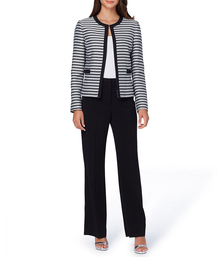 Tahari ASL Striped Jacket Bi-Stretch Pant Suit