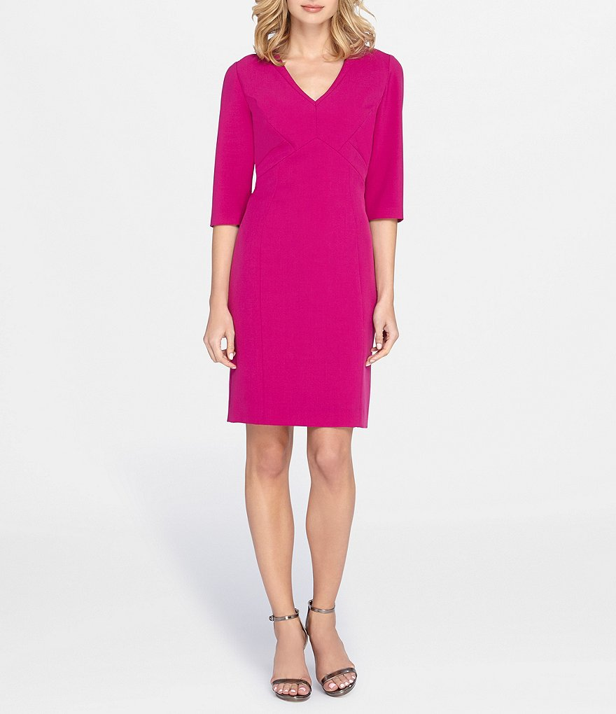 Tahari ASL V-Neck 3/4 Sleeve Crepe Sheath Dress