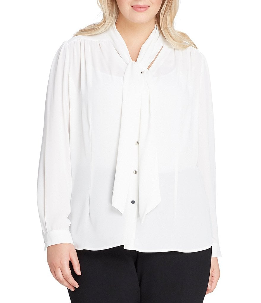Tahari by ASL Plus Tie-Neck Button-Front Georgette Blouse