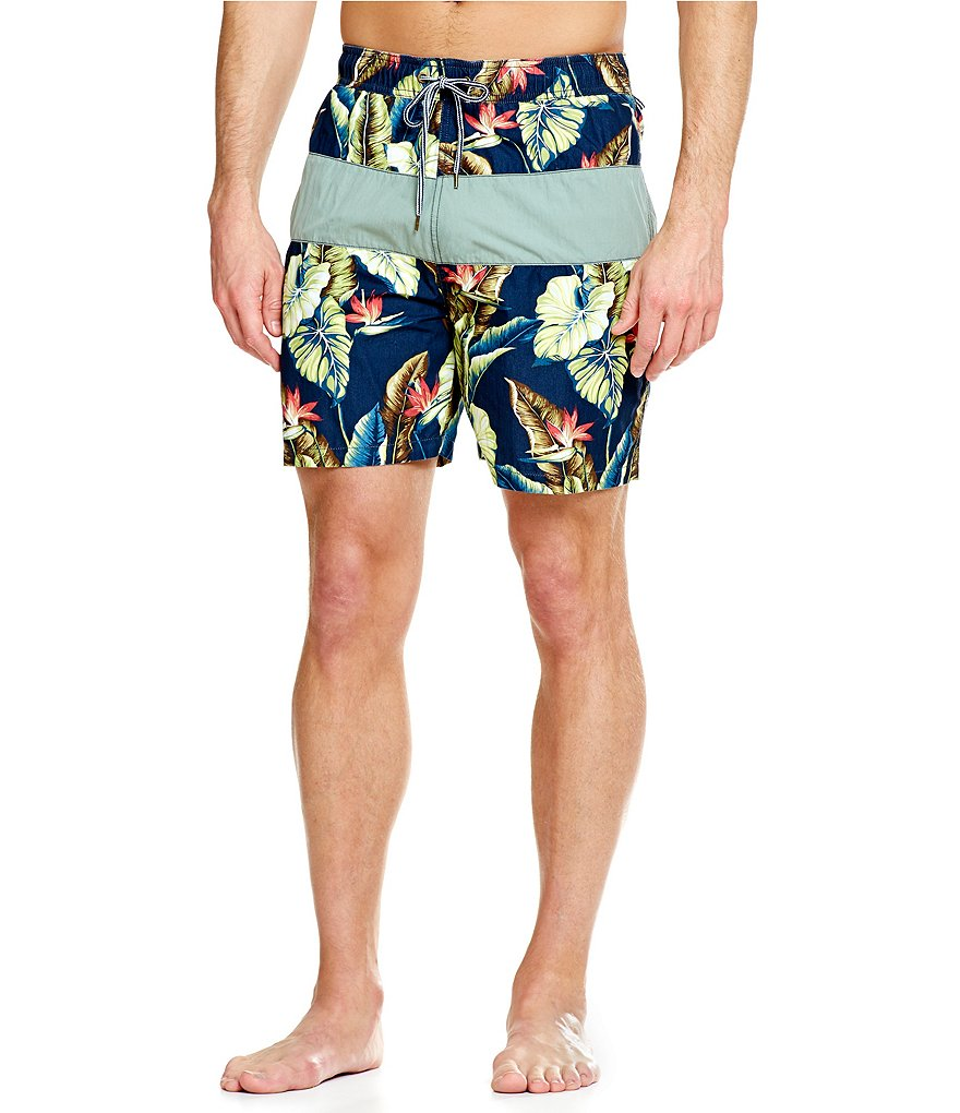 Tailor Vintage Birds Piecing Swim Trunks