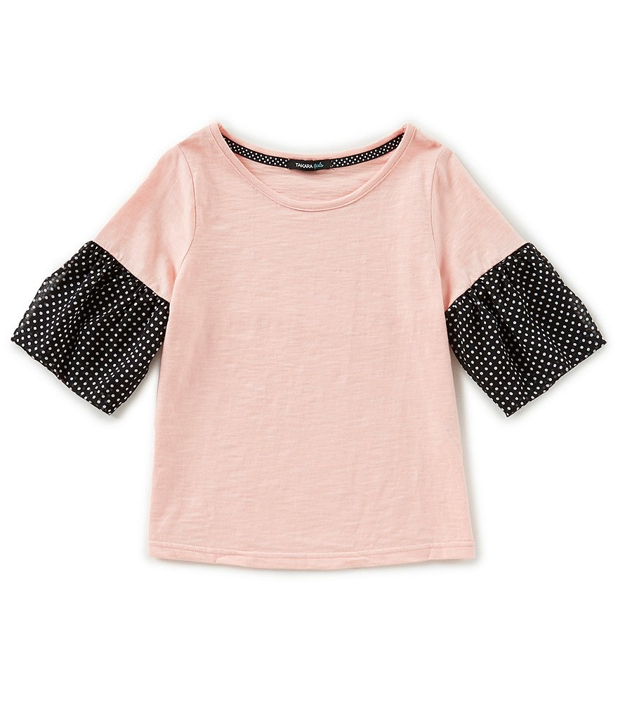 Takara Big Girls 7-16 Dotted Bell-Sleeve Top