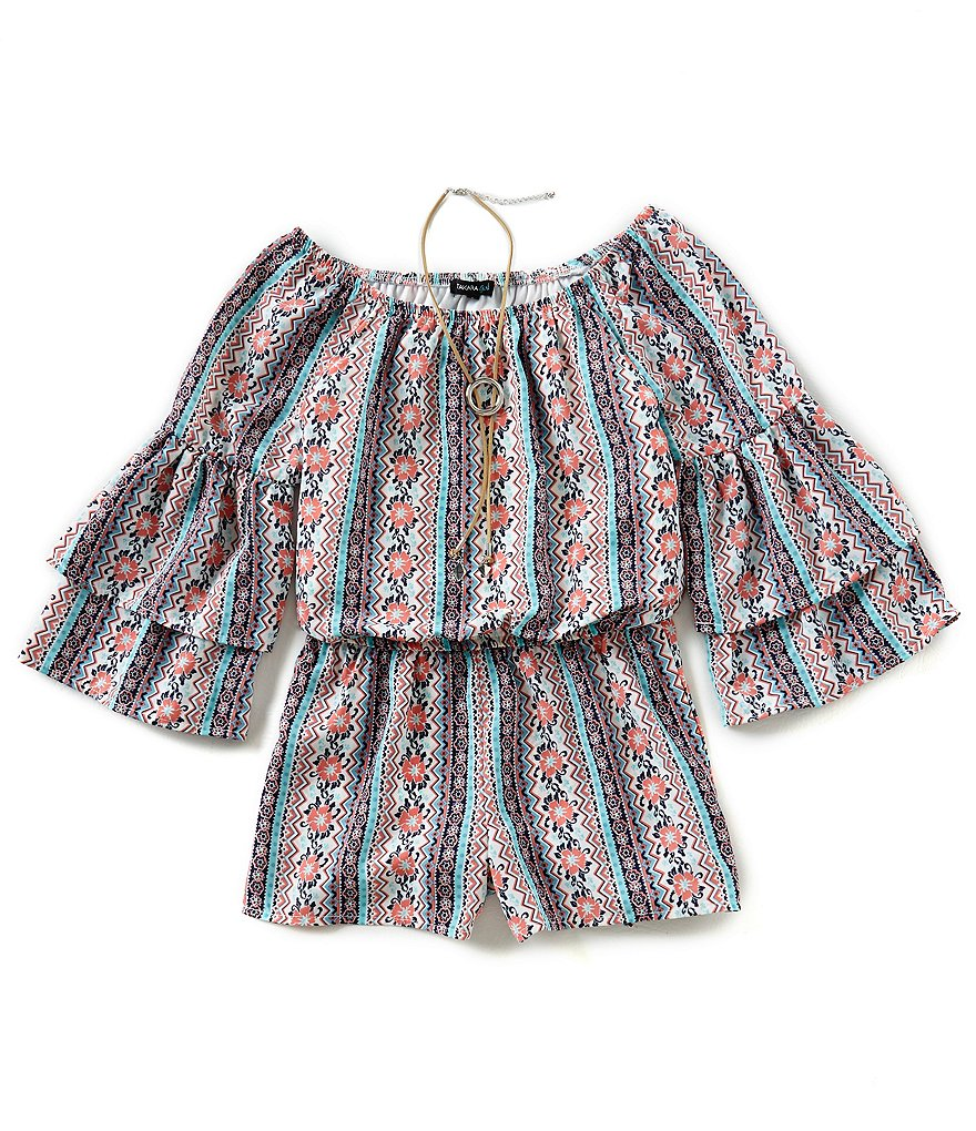Takara Big Girls 7-16 Printed Ruffle-Sleeve Romper