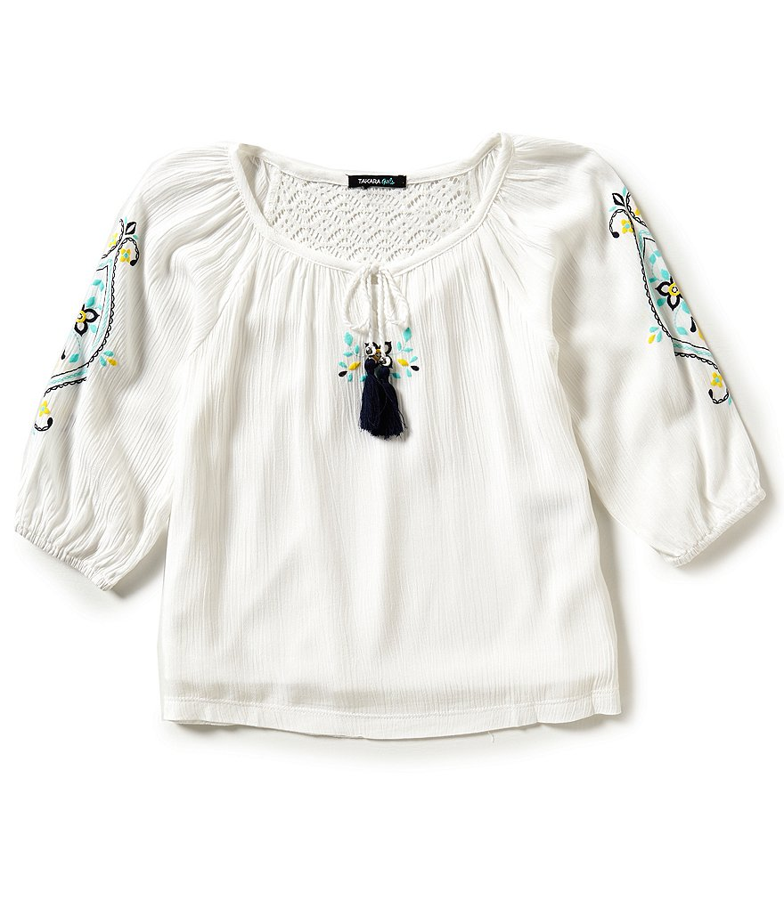 Takara Big Girls 7-16 Tassel Embroidered Peasant Top
