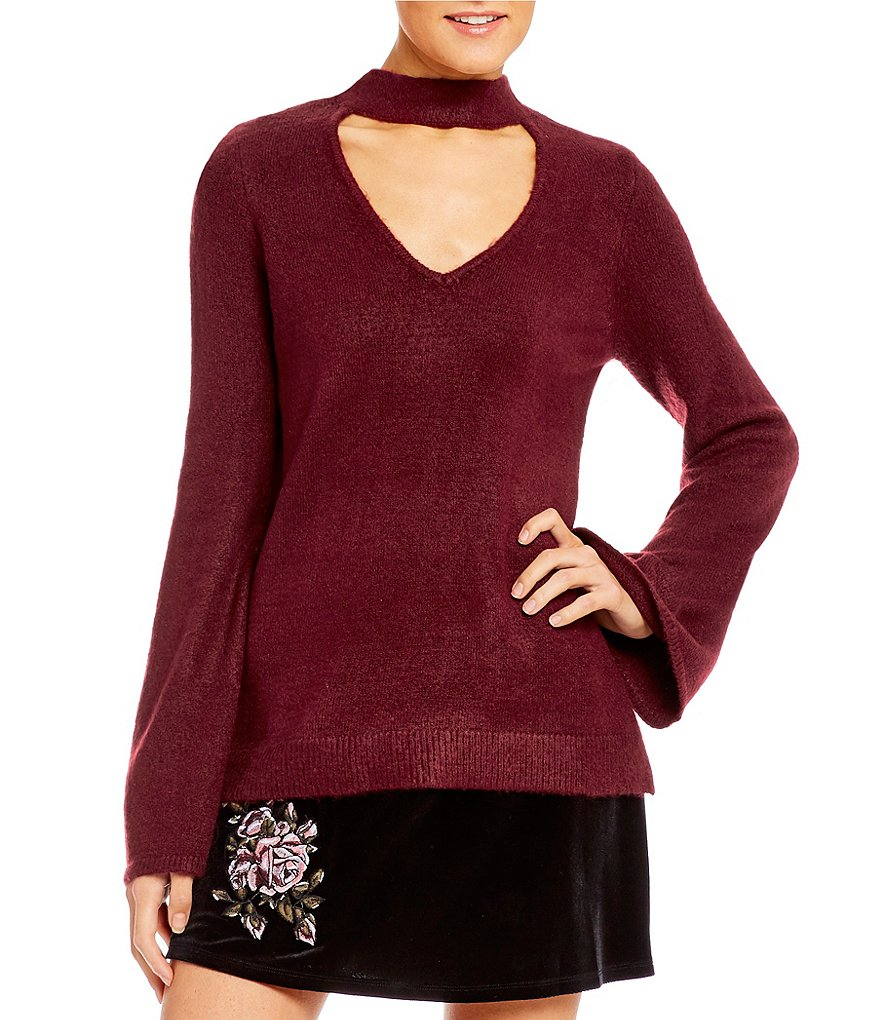 Takara Choker-Neck Bell Sleeve Sweater