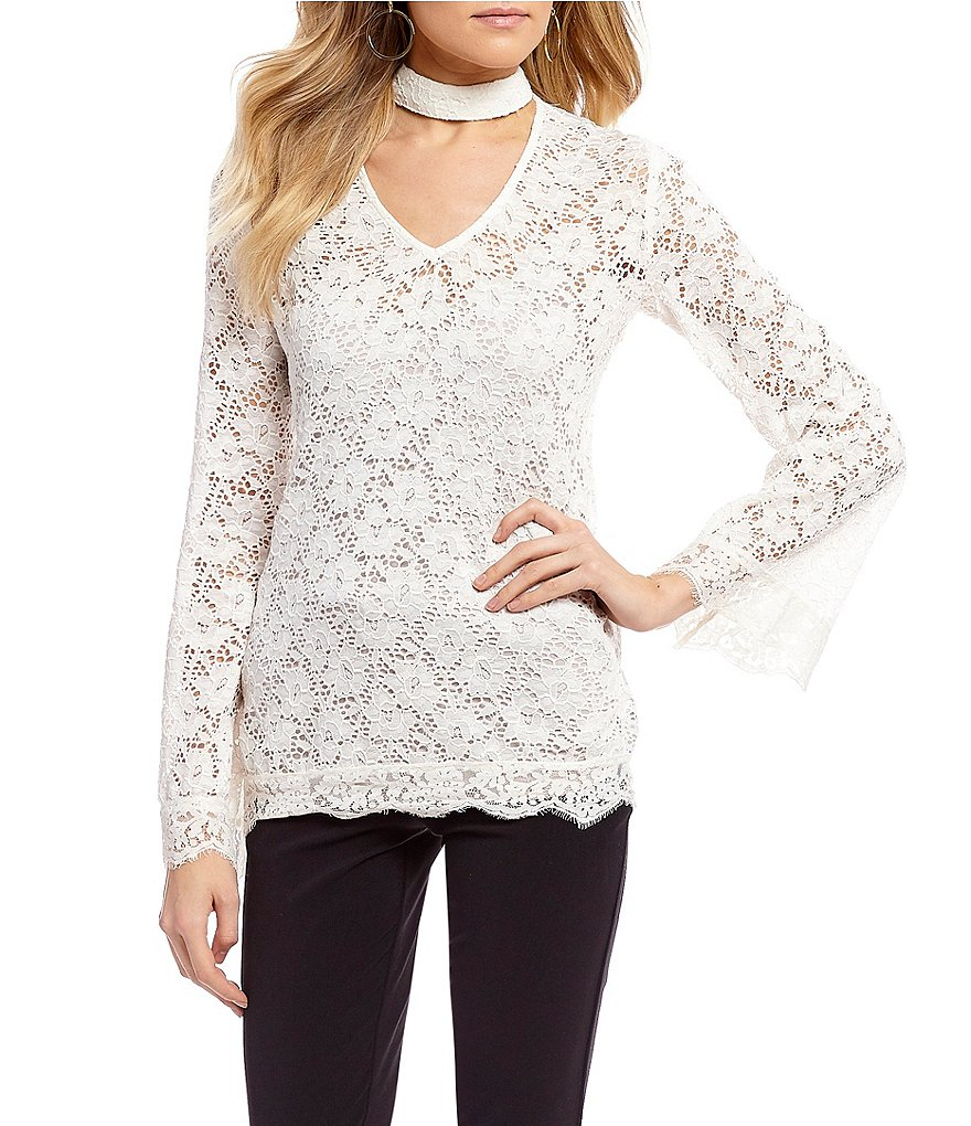 Takara Choker V-Neck Lace Top
