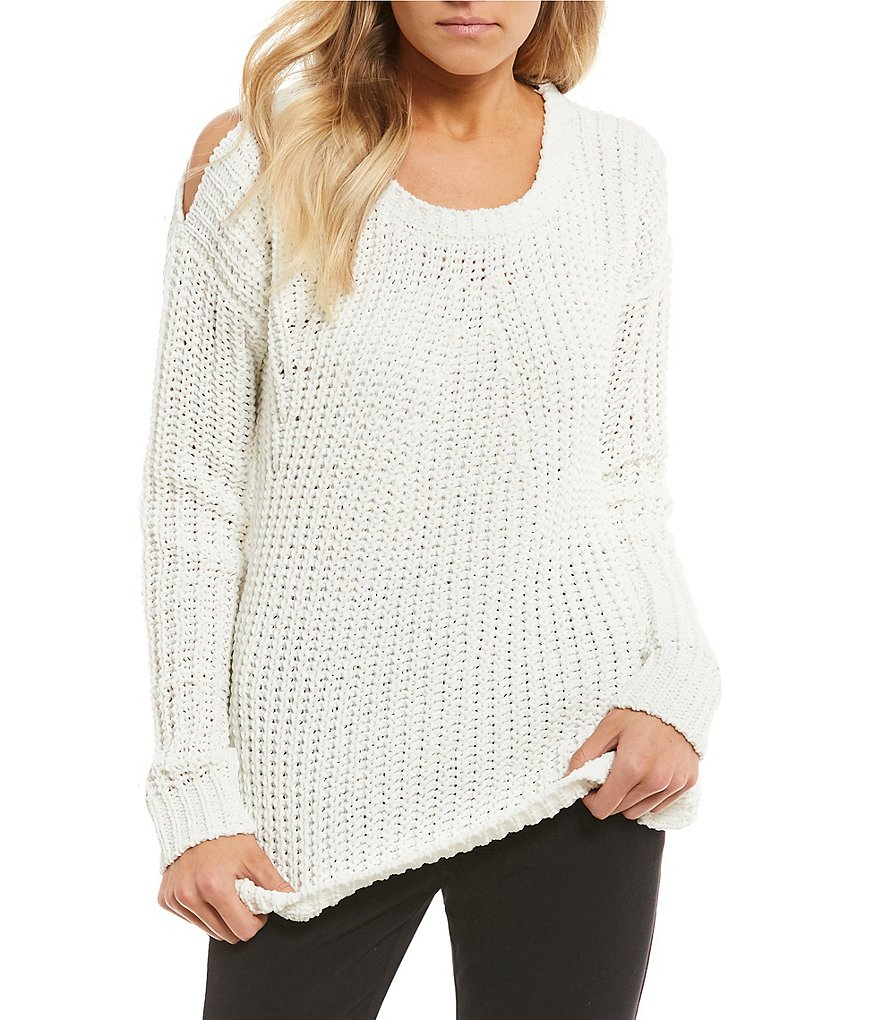 Takara Cold-Shoulder Chenille Sweater