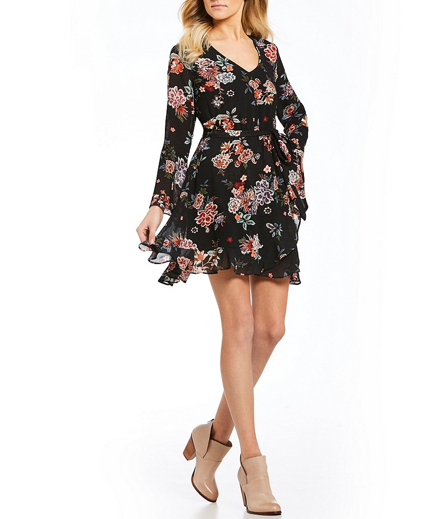 Takara Floral-Printed Faux Wrap Dress
