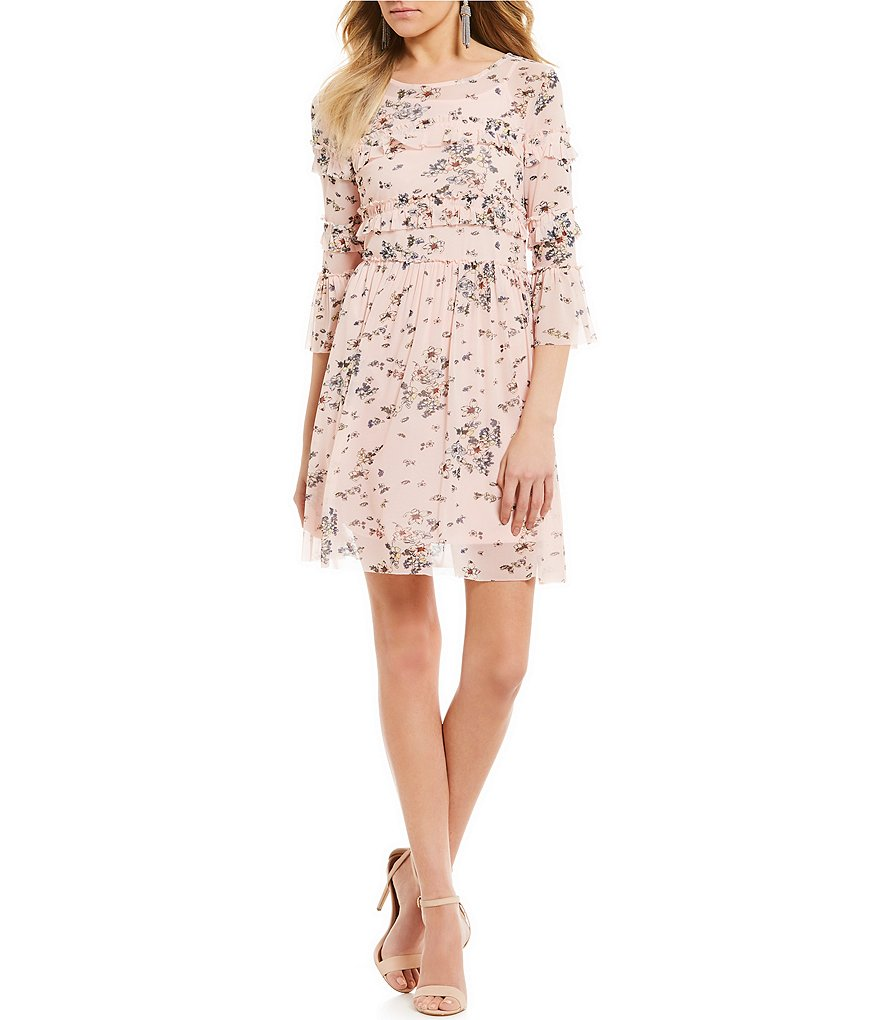 Takara Floral-Printed Mesh Sheath Dress