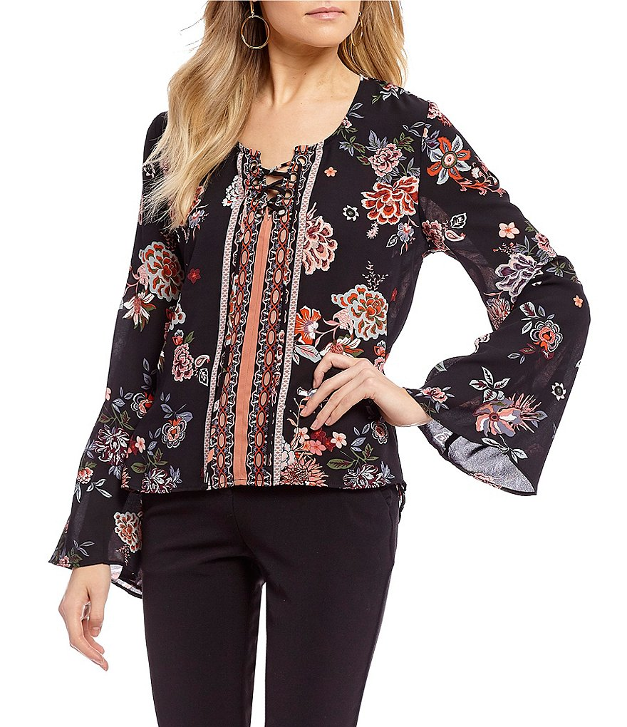Takara Long Sleeve Floral Lace-Up Top
