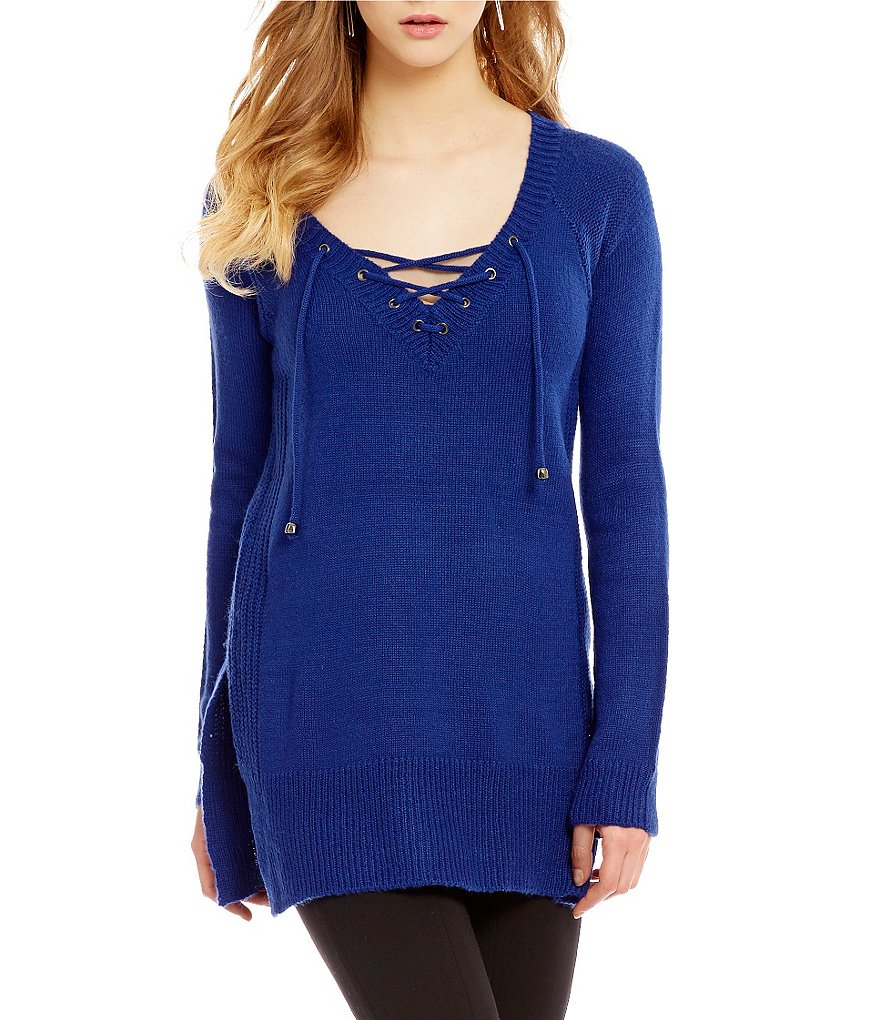 Takara Long Sleeve Lace Up Sweater