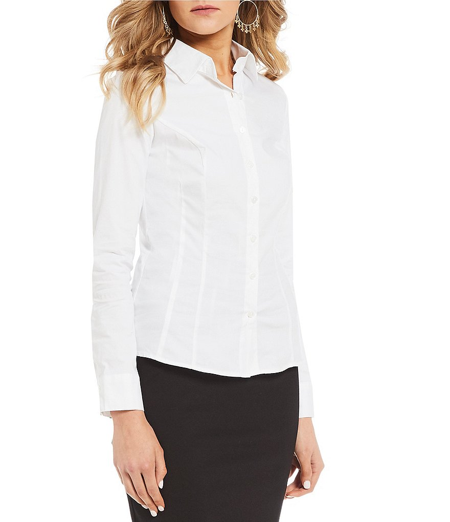 Takara Long-Sleeve Tailored Dress Blouse