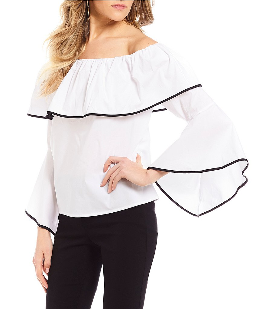 Takara Ruffle Off-The-Shoulder Blouse