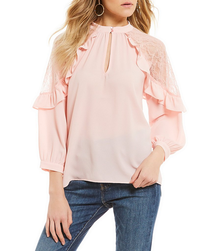 Takara Ruffle Outlined Lace Shoulder Woven Top