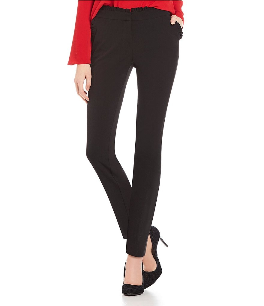 Takara Ruffle Pocket Bi-Stretch Dress Pants