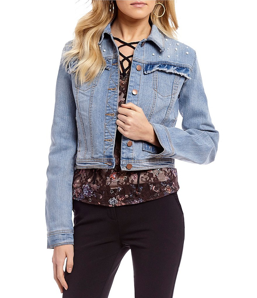 Takara Ruffle-Pocket Pearl Embellishment Denim Jacket