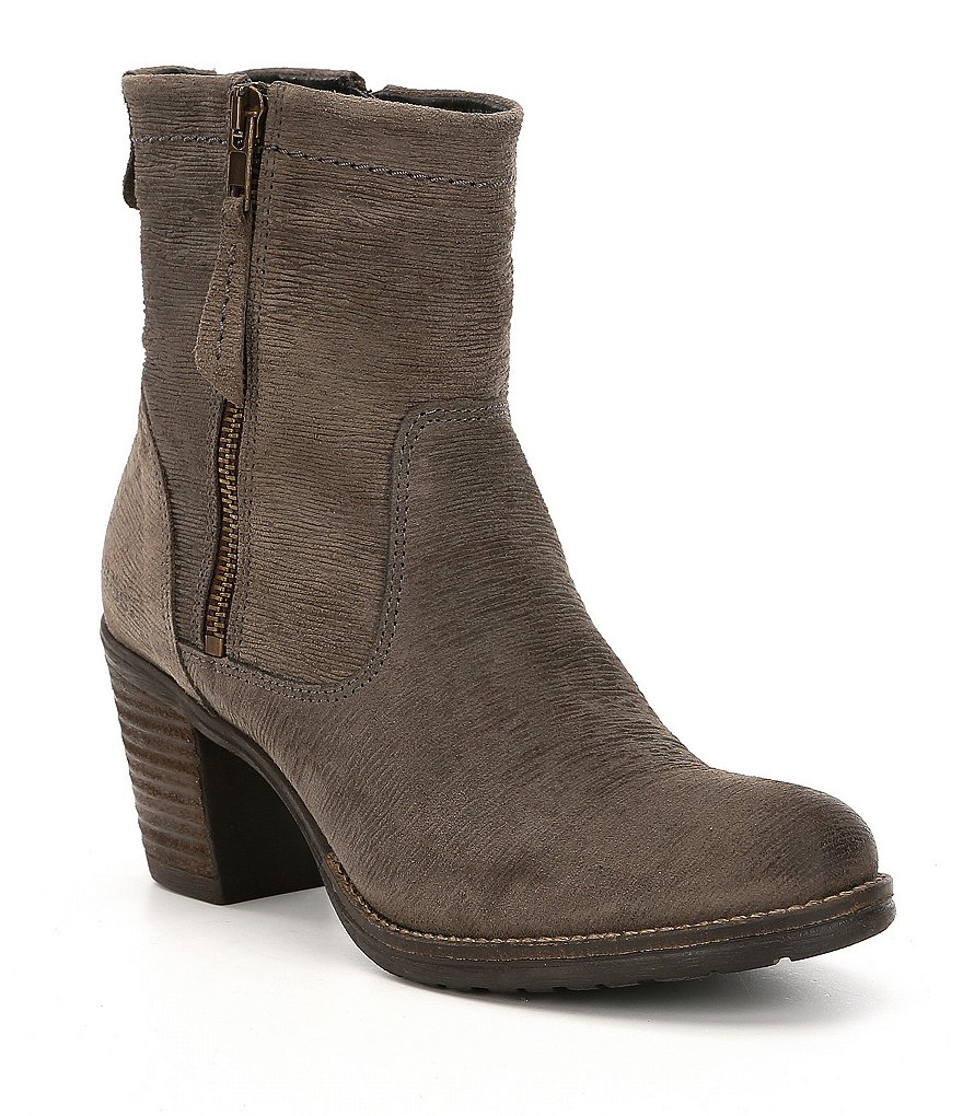 Taos Footwear Shaka 2 Embossed Suede Block Heel Booties