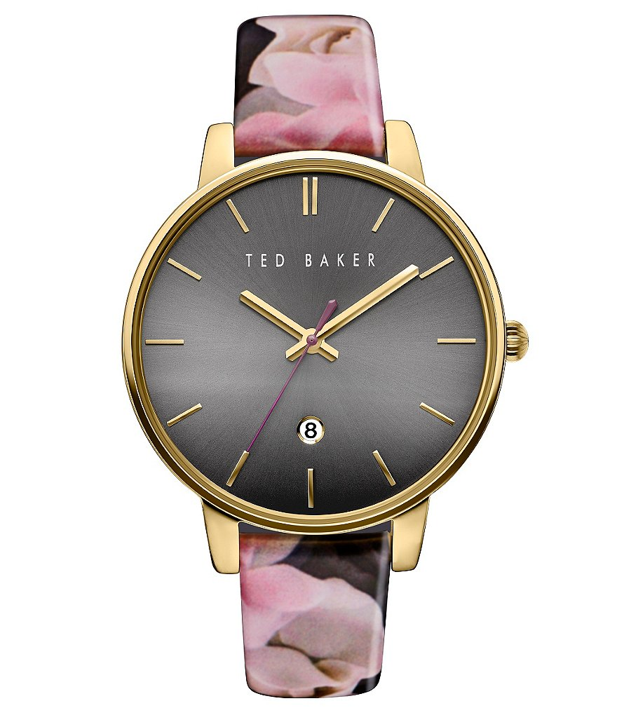 Ted Baker London Kate Analog & Date Floral Leather-Strap Watch
