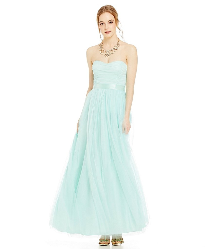 Teeze Me Convertible Strapless Shirred Bodice Long A-line Dress