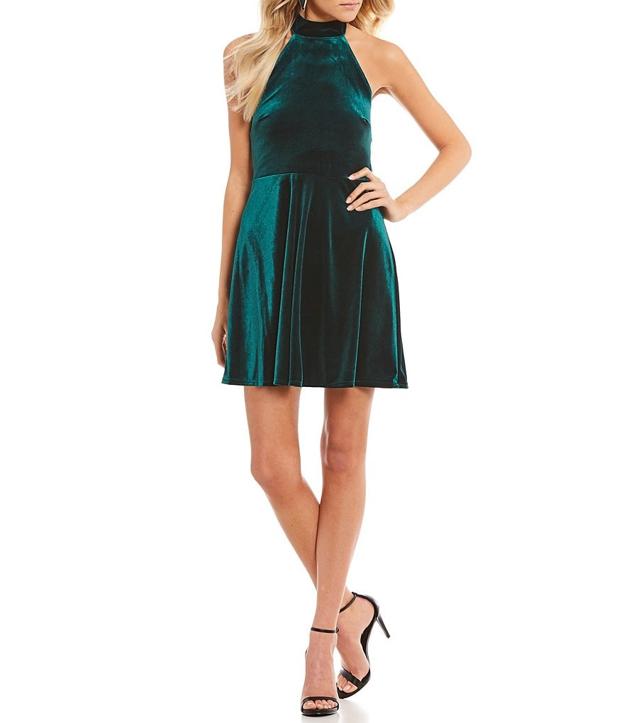 Teeze Me Velvet Fit and Flare Dress