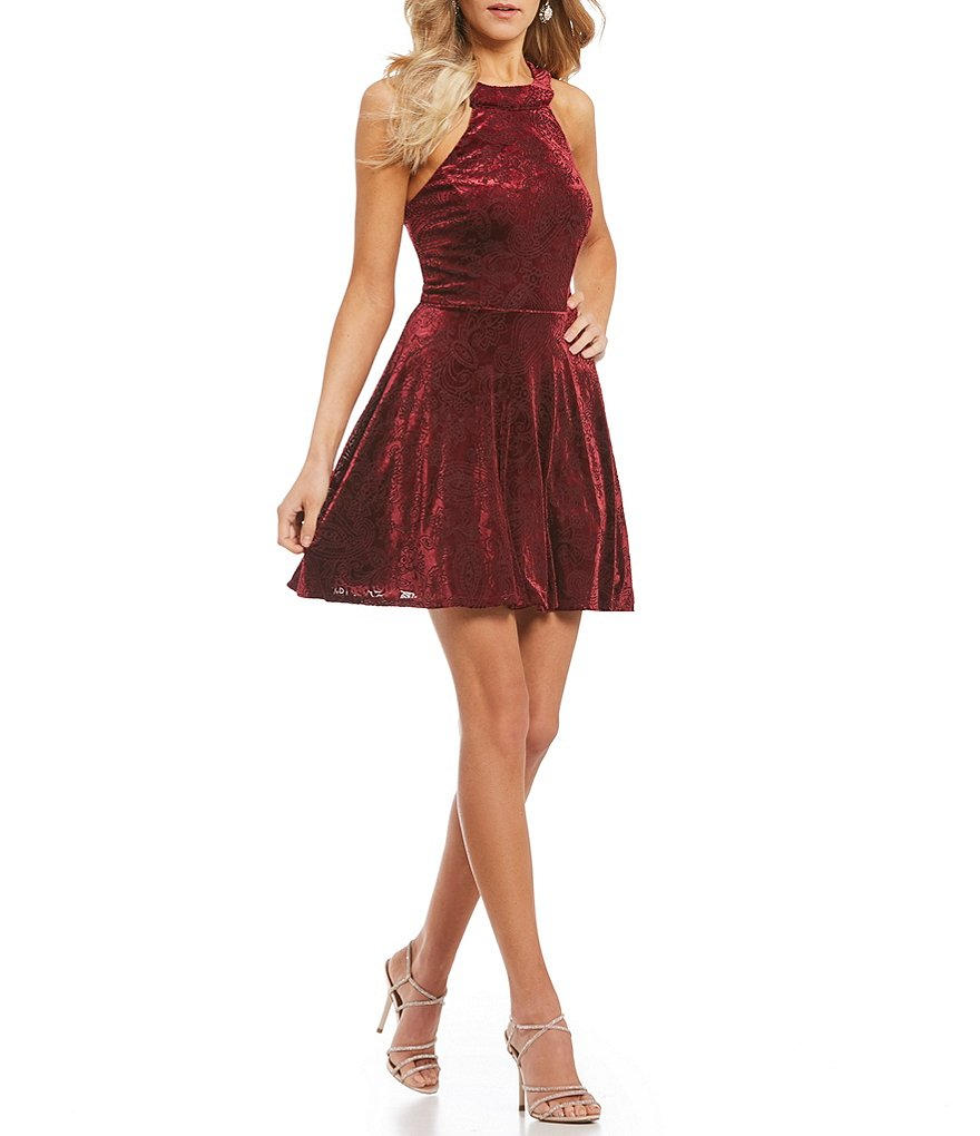 Teeze Me High Neck Burn Out Velvet Fit and Flare Dress