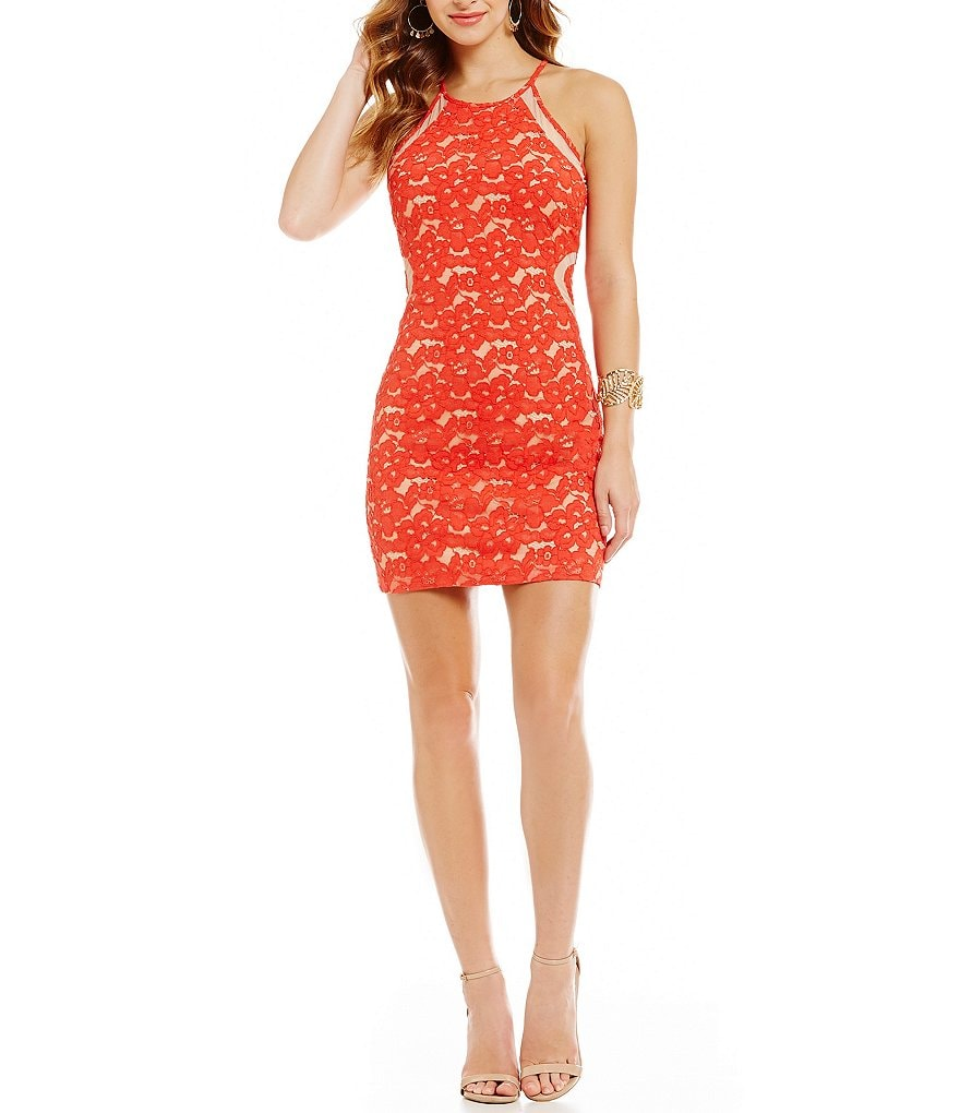 Teeze Me High-Neck Illusion Lace Keyhole Sheath Dress