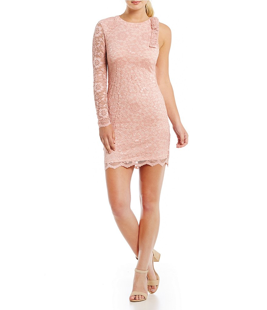Teeze Me One-Sleeve Lace Sheath Dress