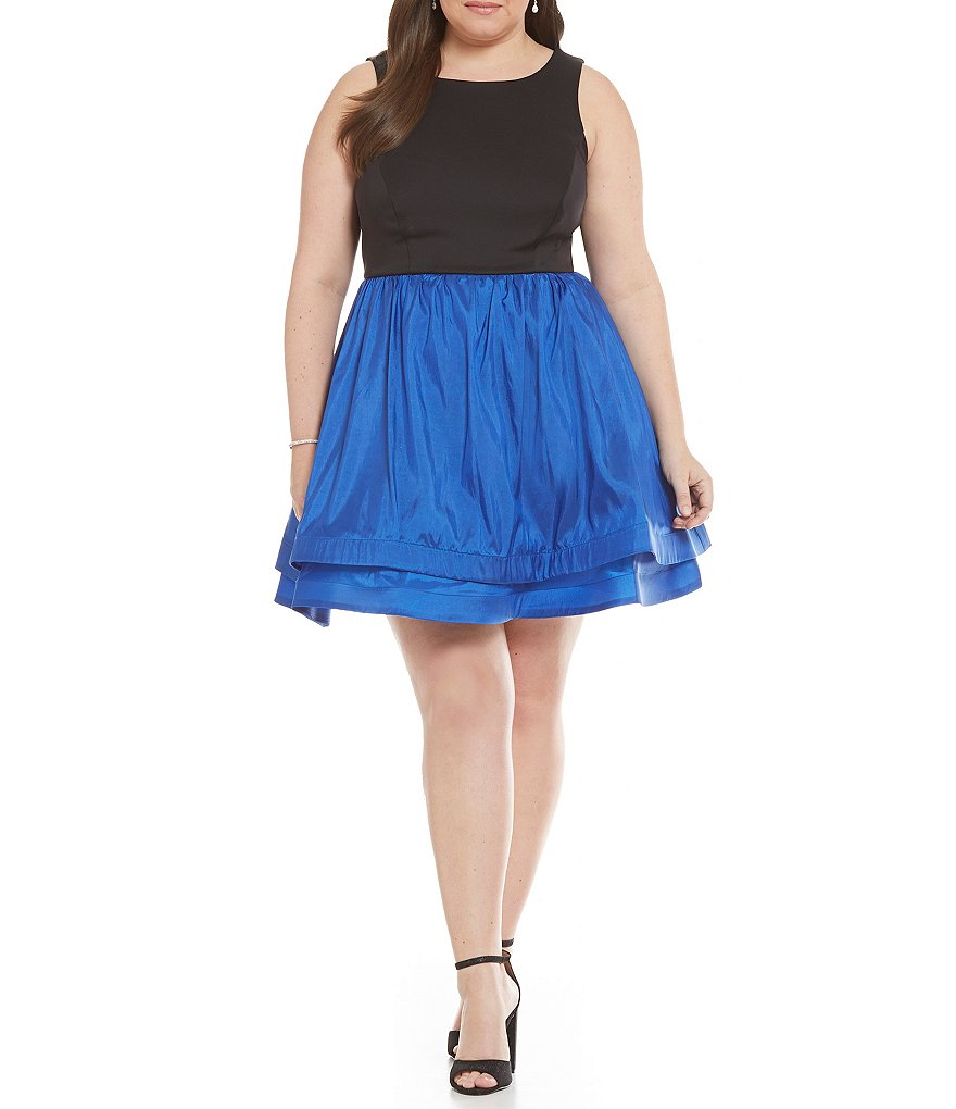 Teeze Me Plus Color Block Layered Skirt Fit-and-Flare Party Dress