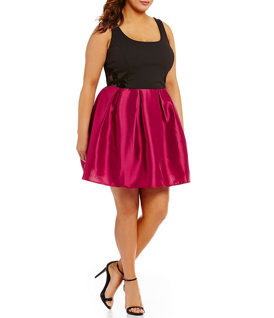 Teeze Me Plus Fit-and-Flare Illusion-Waist Color Block Dress
