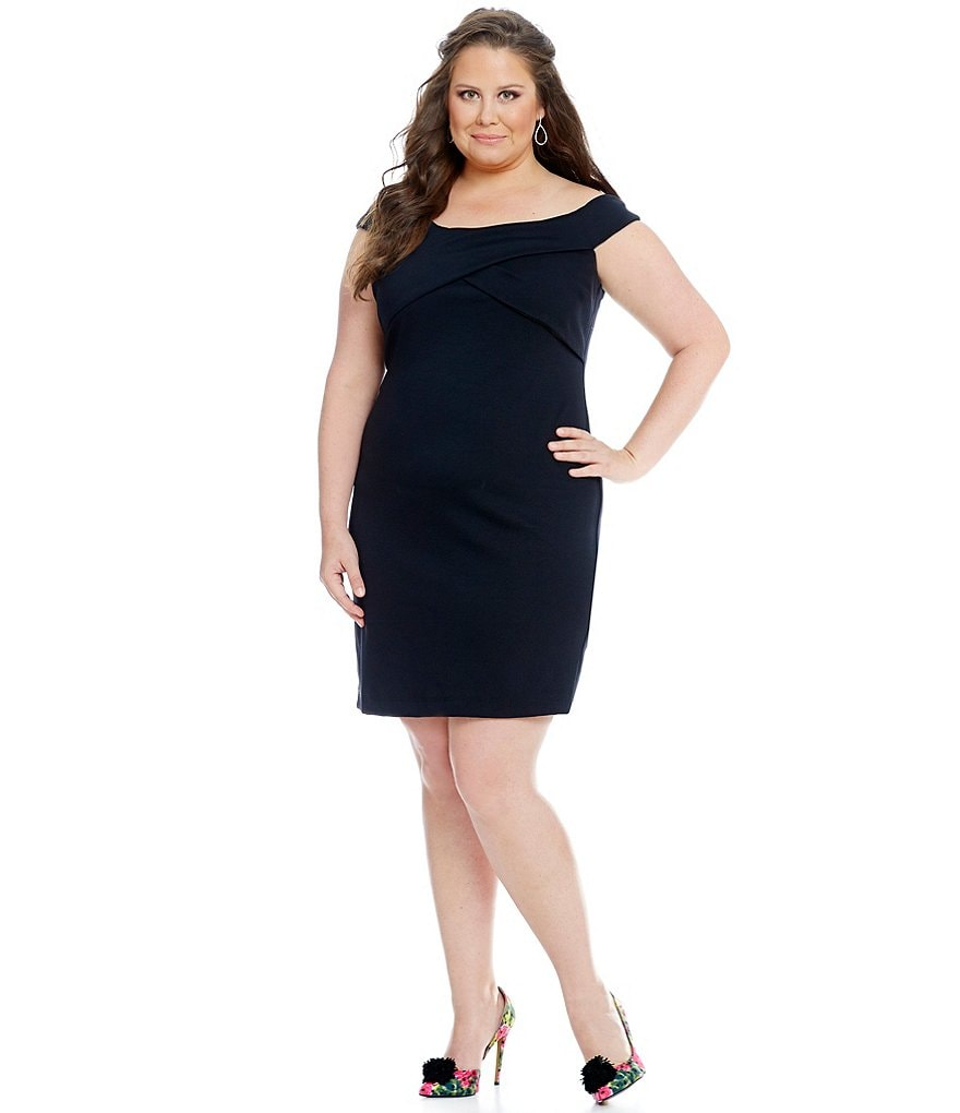Teeze Me Plus Solid Off-The-Shoulder Sheath Dress