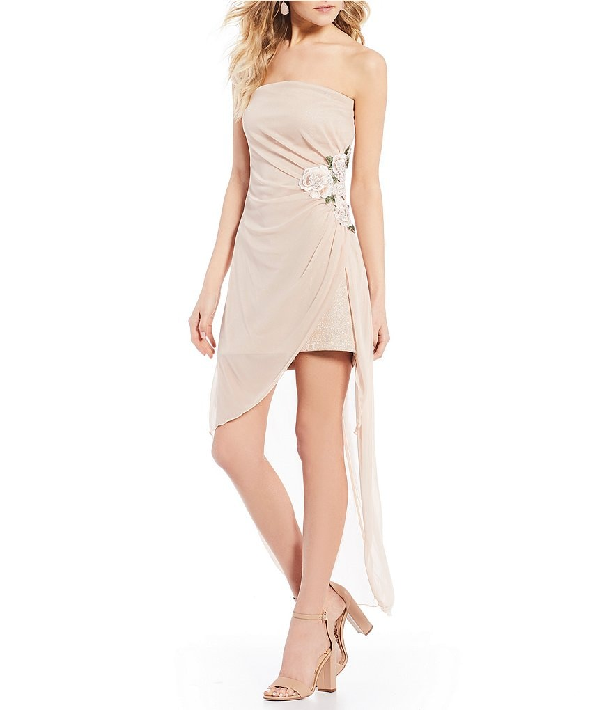 Teeze Me Strapless Embroidered Side High-Low Dress