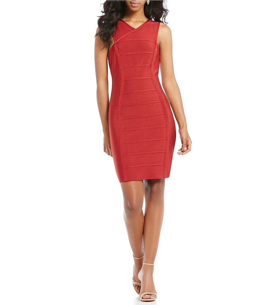 Teeze Me Y-Neck Paneled Sheath Dress