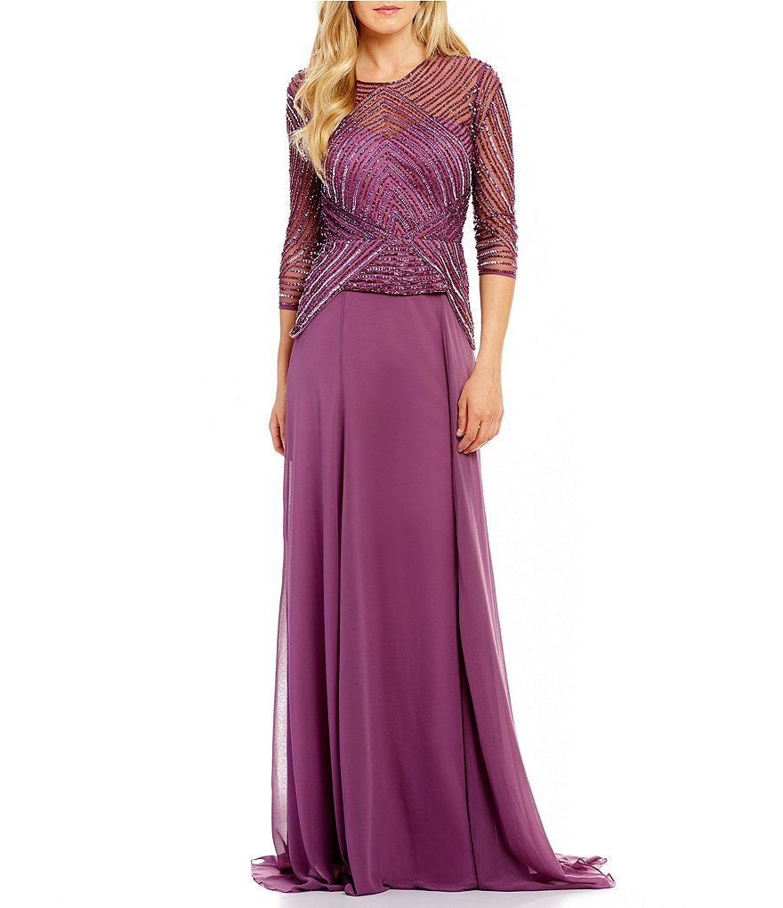 Terani Couture Beaded Bodice Illusion Sweetheart Neckline Chiffon Skirt Gown