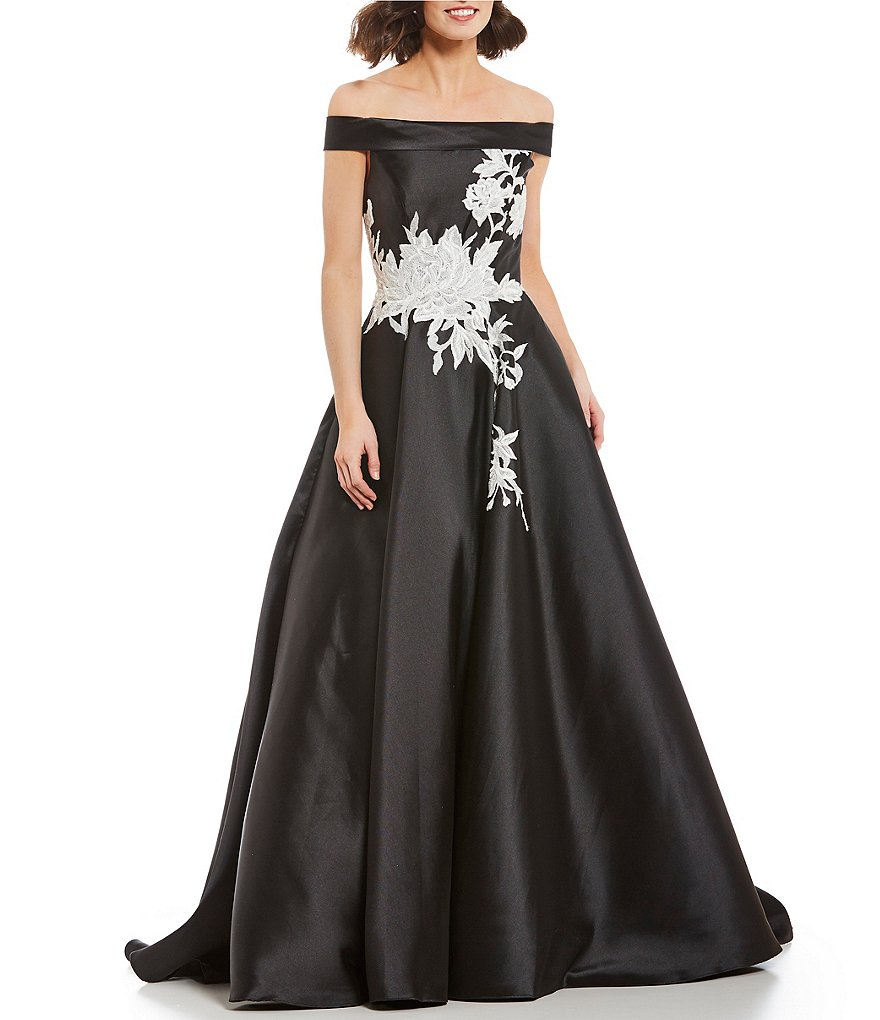 Terani Couture Off-the-Shoulder Applique Ball Gown
