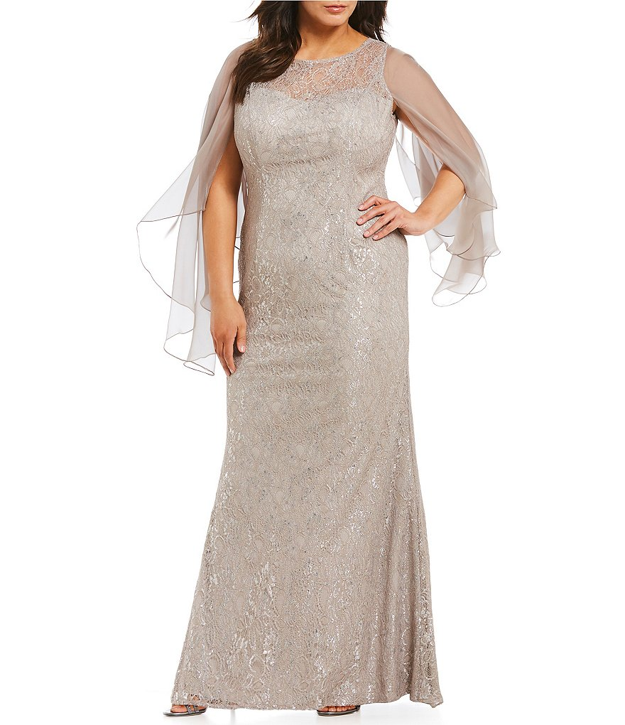 Terani Couture Plus Lace Butterfly Sleeve Gown