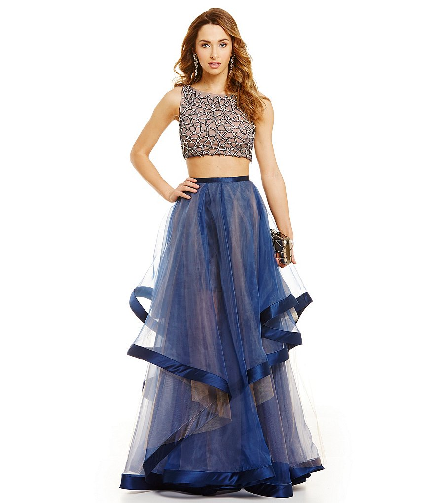 Glamour by Terani Couture Prom Beaded Crop-Top Two-Piece Ribbon Trim Dress